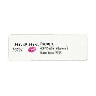 Moustache & Lips Mr. & Mrs Label