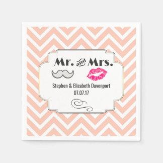 Moustache & Lips Mr. & Mrs. Peach Chevron Wedding Napkin