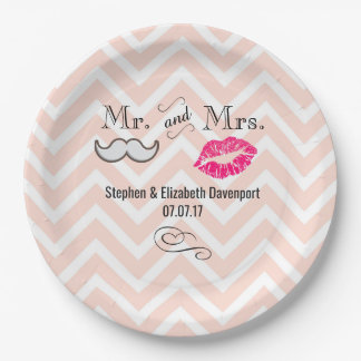 Moustache & Lips Mr. & Mrs. Peach Chevron Wedding Paper Plate