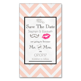 Moustache & Lips Mr. & Mrs. Save the Date Business Card Magnet