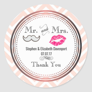 Moustache & Lips Mr. & Mrs. Wedding Thank You Classic Round Sticker
