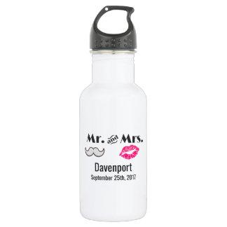 Moustache & Lips Mr. & Mrs. Wedding Water Bottle