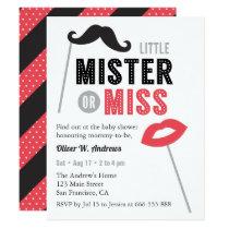 Moustache Lips Props Gender Reveal Baby Shower Card