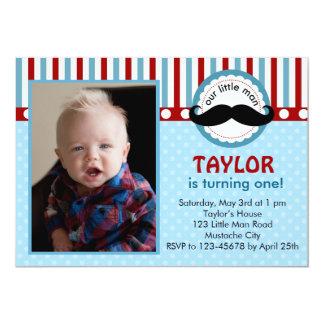 "Moustache Little Man Birthday Invitation (Photo) 5"" X 7"" Invitation Card"
