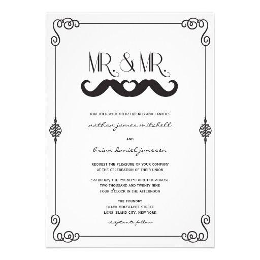 Moustache Love Classic Vintage Scrolls Gay Wedding Custom Invitations