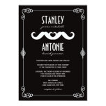 Moustache Love Classic Vintage Scrolls Gay Wedding Custom Announcement