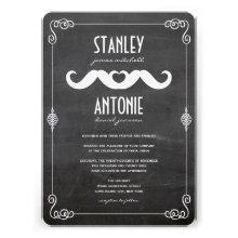 Moustache Love Vintage Chalkboard Gay Wedding Custom Invitation