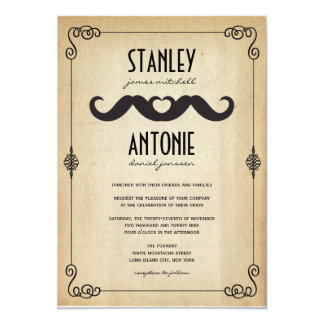 Moustache Love Vintage Classic Gay Wedding Invite