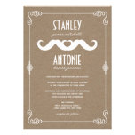 Moustache Love Vintage Kraft Paper Gay Wedding Custom Invite