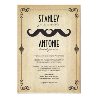 Moustache Love Vintage Old Brown Paper Gay Wedding Card