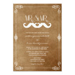 Moustache Love Vintage Old Paper Retro Gay Wedding Custom Invites