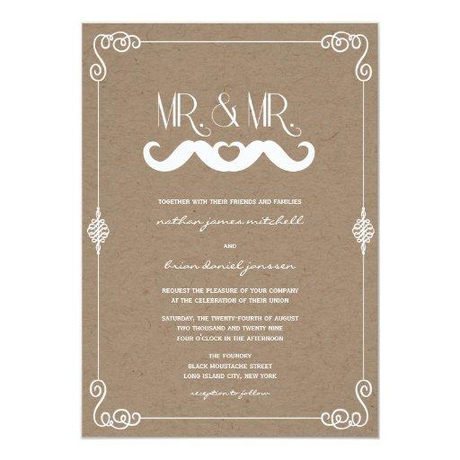 Moustache Love Vintage Paper Retro Gay Wedding 5x7 Paper Invitation Card