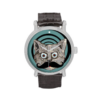 moustache mad cat hour watch