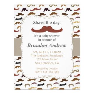 Moustache Pattern Boy Baby Shower Party Announcements