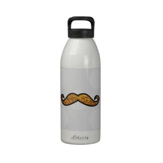 Moustache, Polka Dots, Glitter - Black Gray Gold Drinking Bottle