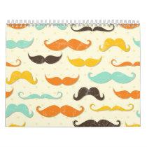 Moustache Print Vintage Orange Teal Little Man Calendar