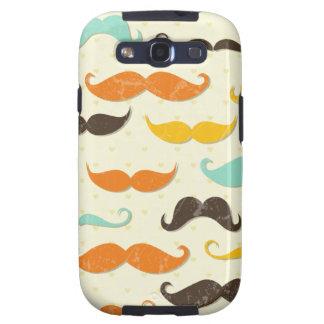 Moustache Print Vintage Orange Teal Little Man Samsung Galaxy SIII Cases