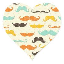 Moustache Print Vintage Orange Teal Little Man Heart Sticker
