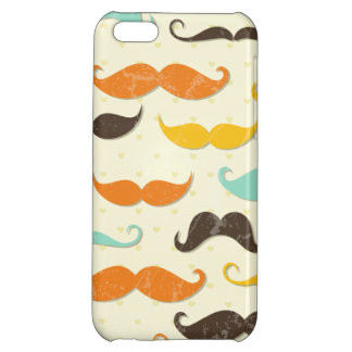 Moustache Print Vintage Orange Teal Little Man Case For iPhone 5C