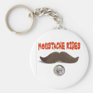MOUSTACHE RIDES 25 CENTS BASIC ROUND BUTTON KEYCHAIN