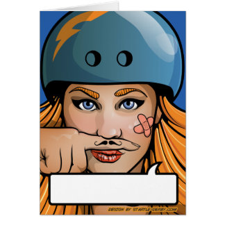 Moustache Rollergirl Derby Comic Book Card