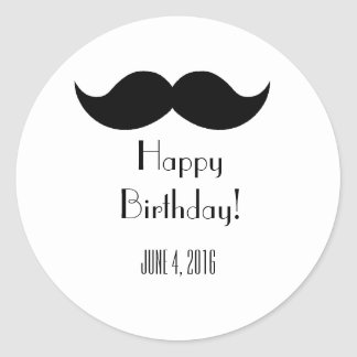 Moustache stickers- Customize Classic Round Sticker