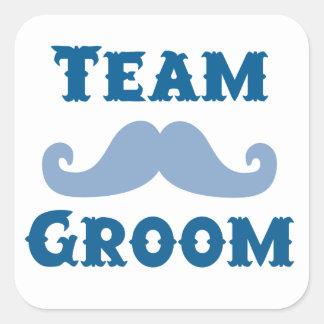 Moustache Team Groom Square Sticker