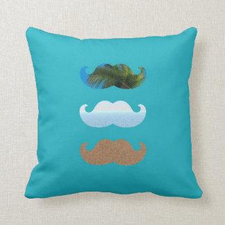 Moustache .. To The Beach Throw Pillow