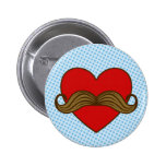 Moustache Valentine Heart 2 Inch Round Button