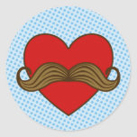 Moustache Valentine Heart Classic Round Sticker