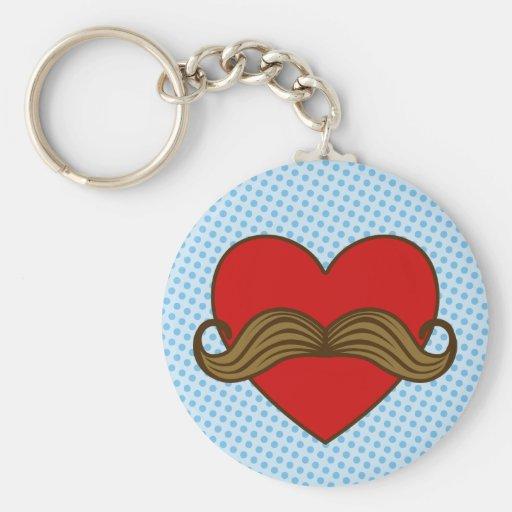 Moustache Valentine Heart Basic Round Button Keychain