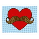 Moustache Valentine Heart Postcard