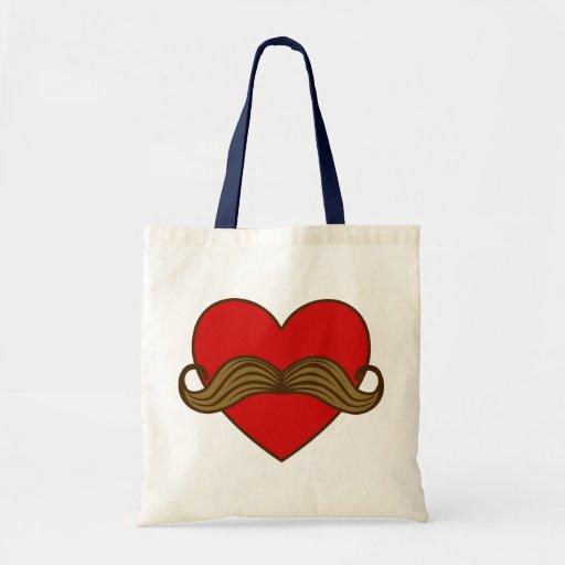 Moustache Valentine Heart Tote Bag