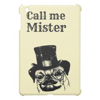 Moustached pug iPad mini cases