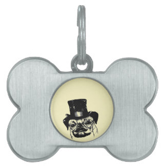 Moustached pug pet ID tag