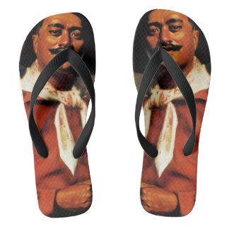 Moustachioed Uke Player Flip Flops