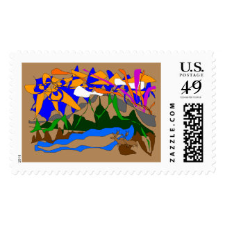 Moutain Dreams Postage Stamp-Autumn