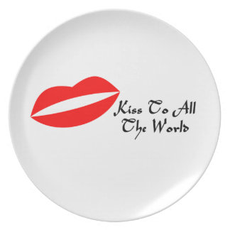 Mouth Lips & Kiss To All The World Melamine Plate