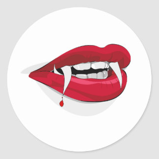 mouth of a vampire classic round sticker