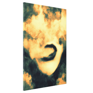 Mouth Smoke Vape Grunge Art Canvas Print