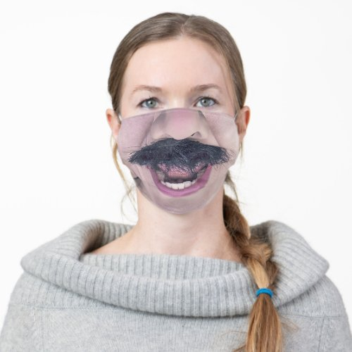 Mouth Wide Open Mustache Funny Cloth Face Mask