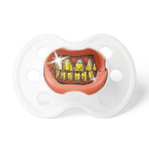 Mouth With Gold Teeth Grillz Ostentation Pacifier