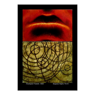 Mouthpiece Triptych - Red Poster