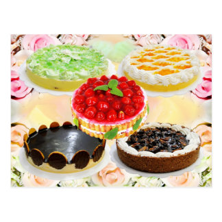 Mouthwatering cakes postcard