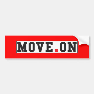 move on text message emotion red dot square bumper sticker