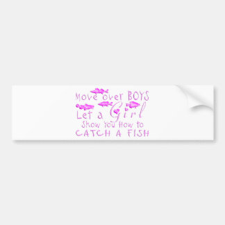 MOVE OVER BOYS GIRLS FISHING BUMPER STICKER