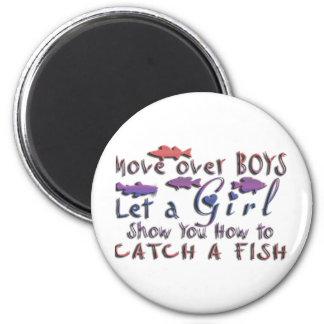 MOVE OVER BOYS GIRLS FISHING FRIDGE MAGNET
