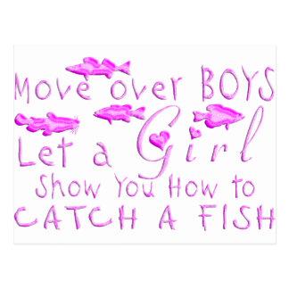 MOVE OVER BOYS GIRLS FISHING POSTCARD
