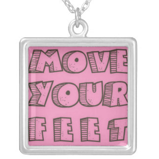 Move Your Feet Silver Plated Necklace