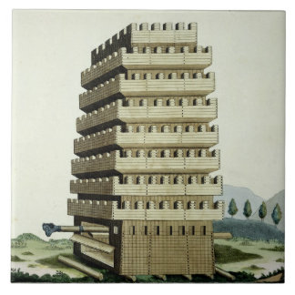 Moveable tower with outer galleries and an additio ceramic tile